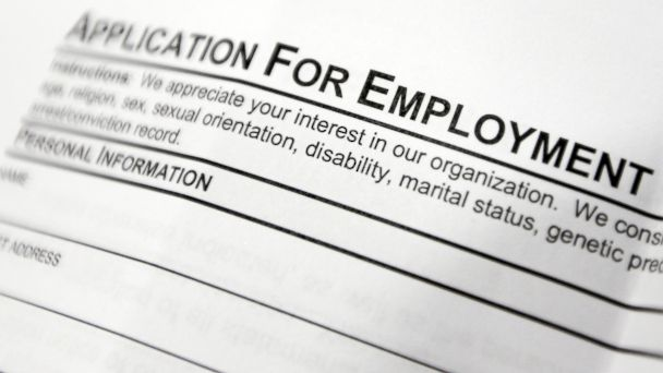 PHOTO: An employment application form on a table during a job fair at Columbia-Greene Community College in Hudson, New York is pictured in this April 22, 2014 file photo.