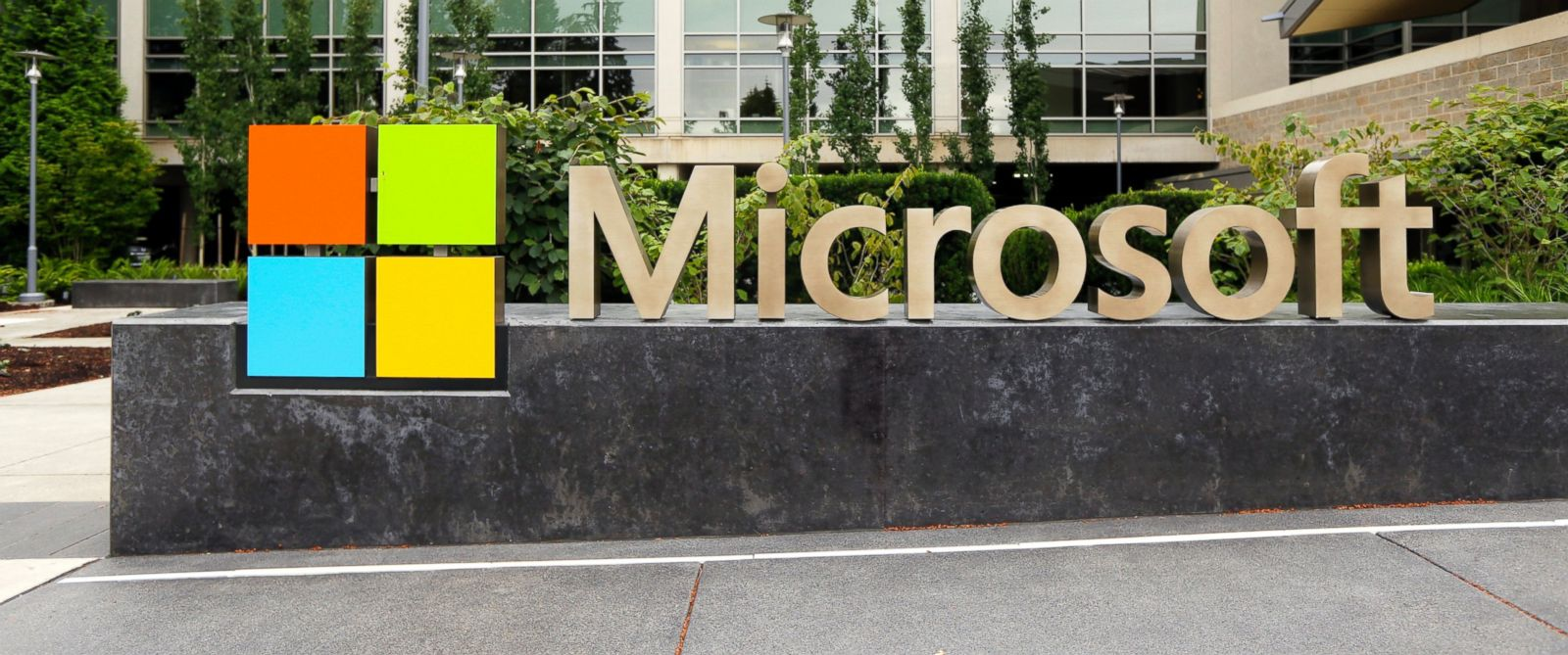PHOTO: The Microsoft Corp. logo is pictured outside the Microsoft Visitor Center in Redmond, Wash.