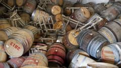 PHOTO: Barrels filled with Cabernet Sauvignon are toppled on one another following an earthquake at the B.R. Cohn Winery barrel storage facility on Aug. 24, 2014 in Napa, Calif.