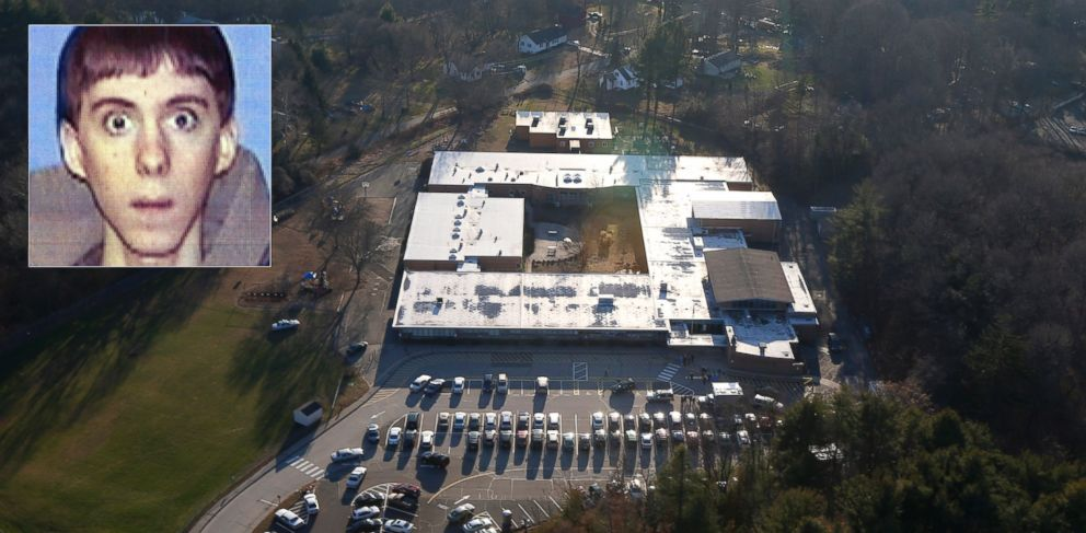 PHOTO: This aerial photo shows Sandy Hook Elementary School in Newtown, Conn., Dec. 14, 2012. | Inset: Adam Lanza is seen in this undated file photo.