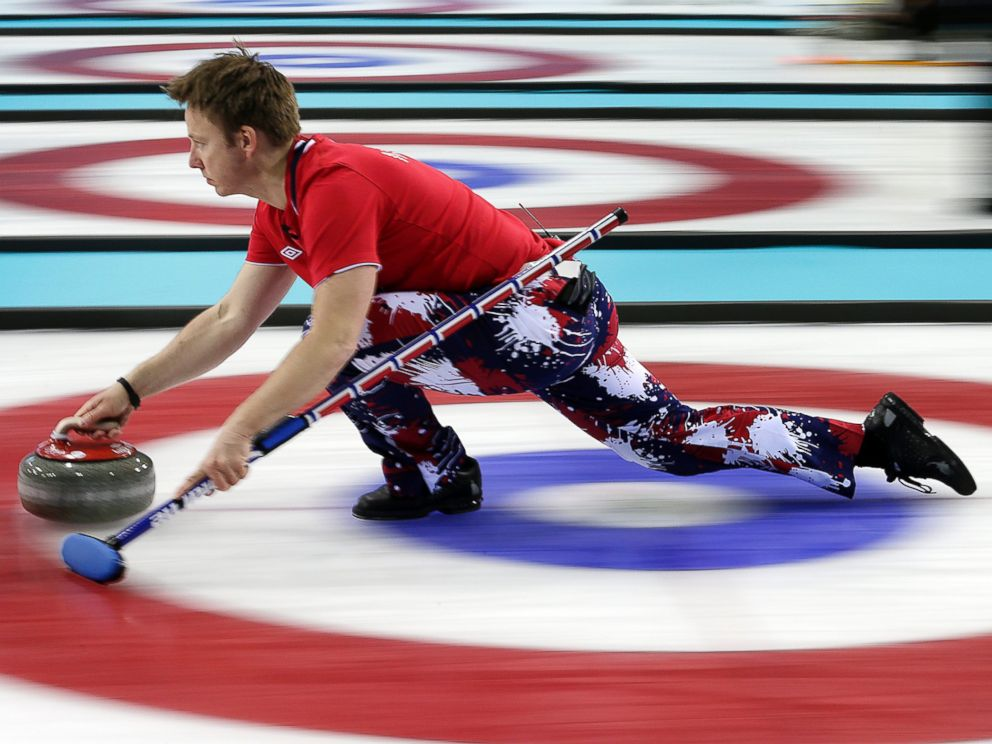 PHOTO: Norways Torger Nergaard delivers the rock during the mens curling competition against Russia at the 2014 Winter Olympics, Feb. 11, 2014, in Sochi, Russia.