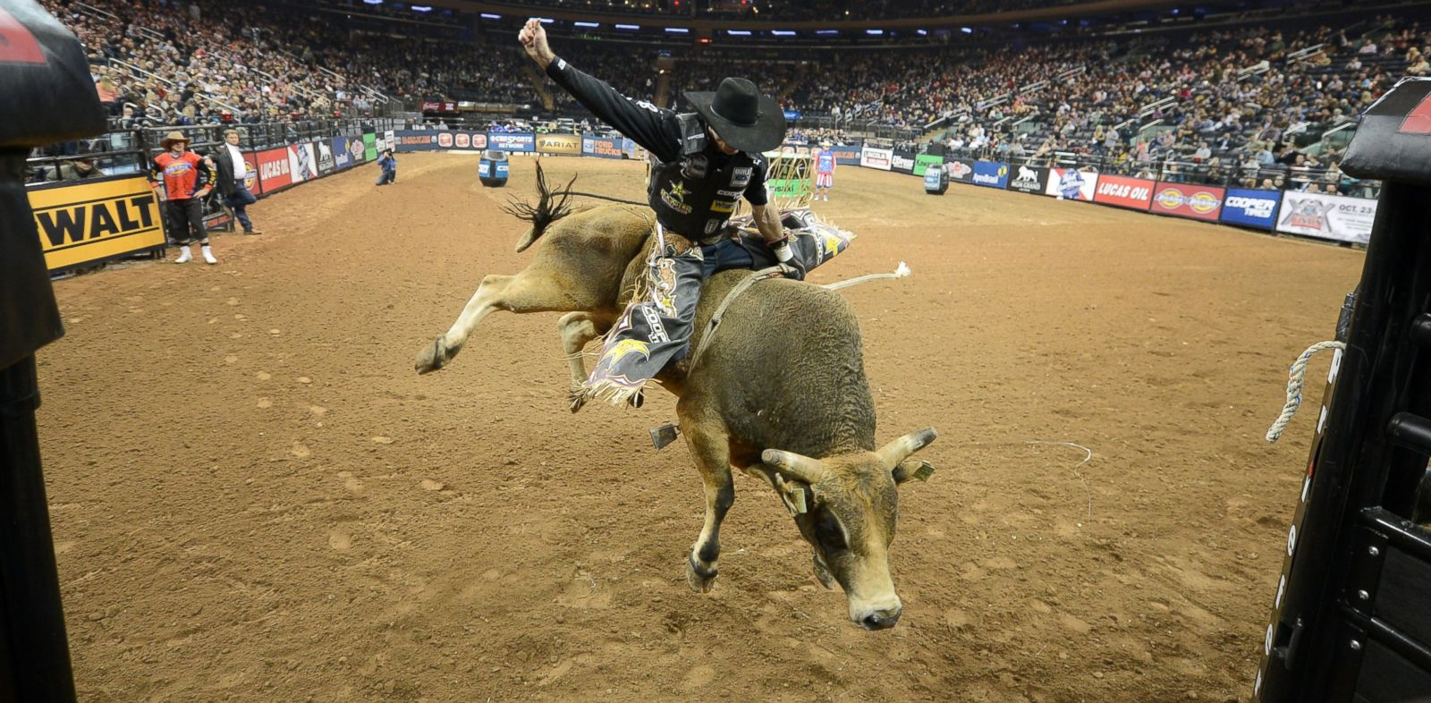 PHOTO: Fabiano Vieira rides Hot Toddy at the Professional Bull Riders Monster Energy Invitational