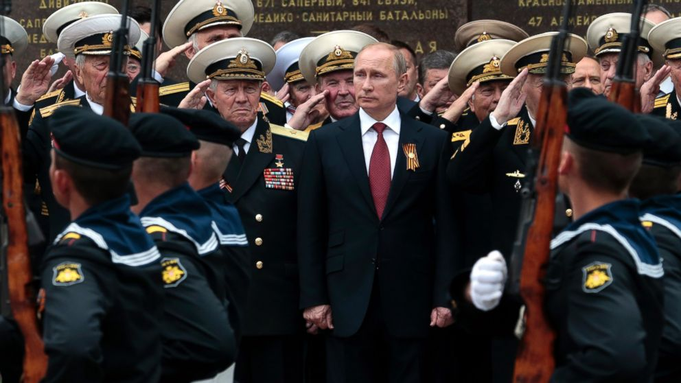 PHOTO: Russian President Vladimir Putin attends a parade marking the Victory Day in Sevastopol, Crimea, in this May 9, 2014 file photo.
