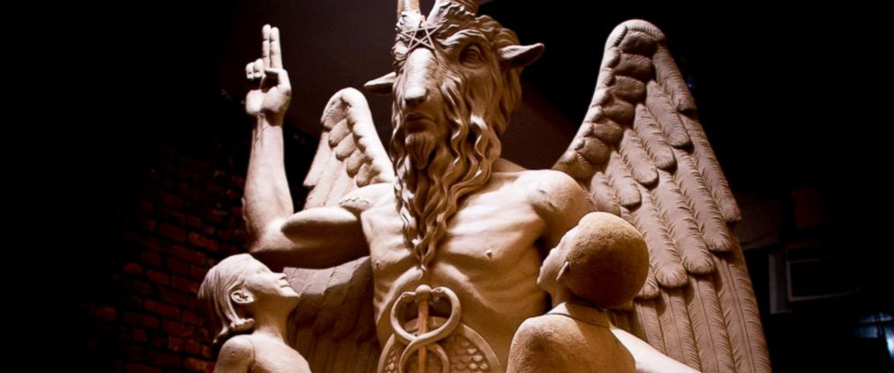 PHOTO: The Detroit Satanic Temple unveiled this 8 1/2 foot tall bronze monument featuring Satan, July 25, 2015, at an undisclosed location.
