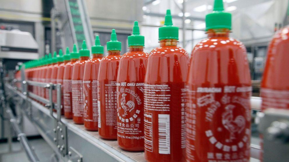 PHOTO: Sriracha chili sauce is produced at the Huy Fong Foods factory in Irwindale, Calif.