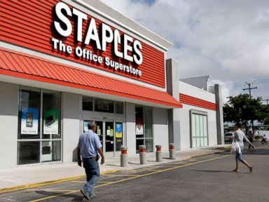 PHOTO: Customers enter Staples office supply store in Miami, in this Nov. 15, 2011, file photo.