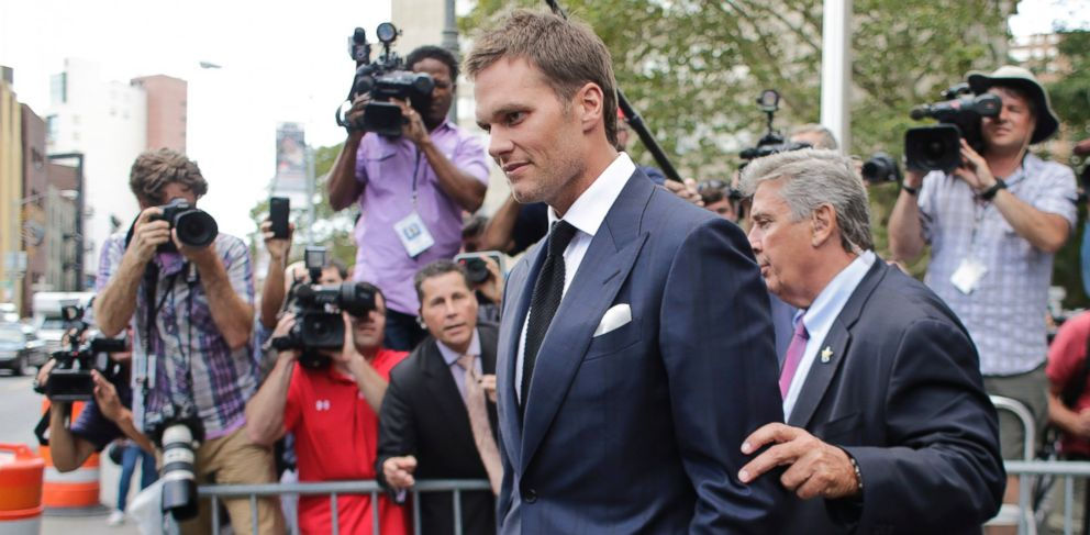 PHOTO: Tom Brady leaves federal court on Aug. 12, 2015 in New York City.