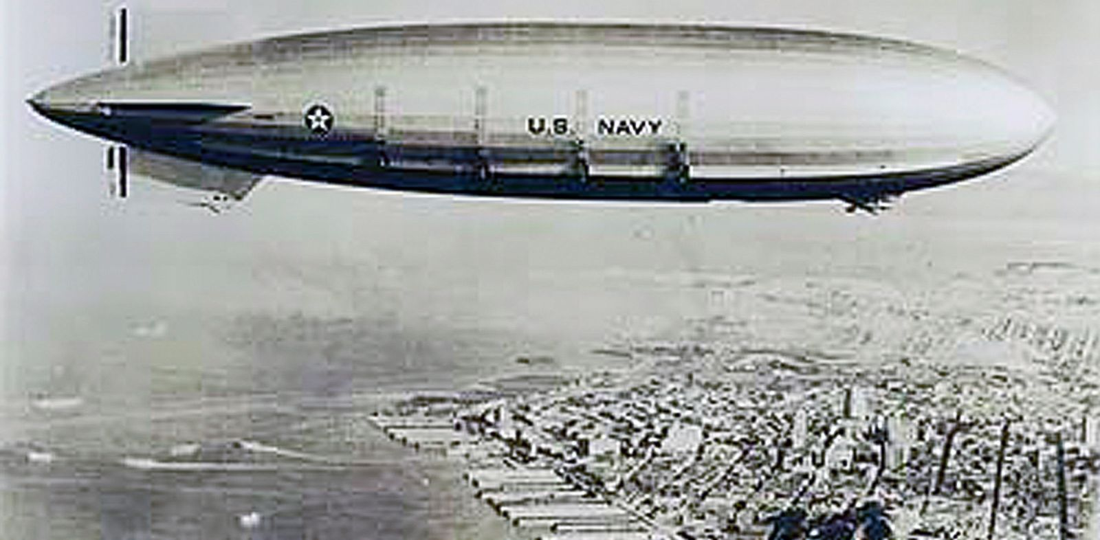 PHOTO: The USS Macon is seen flying over the city of San Francisco in the early 1930s.