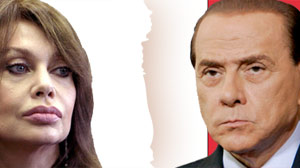 Italian Prime Minister Silvio Berlusconi, and soon-to-be ex-wife V