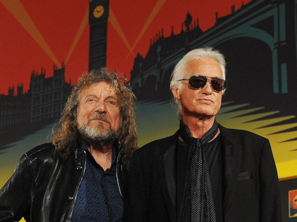 PHOTO: Members of British rock band Led- Zeppelin with Robert Plant,left, and Jimmy Page arriving for a press conference in London, September 21,2012.