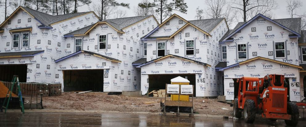 PHOTO: KB Home residential buildings stand under construction in the Glencroft neighborhood of Cary, N.C., Jan. 6, 2017.