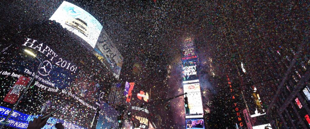 PHOTO: Confetti fills the air as celebrants in Times Square welcomed 2016 on New Years eve.