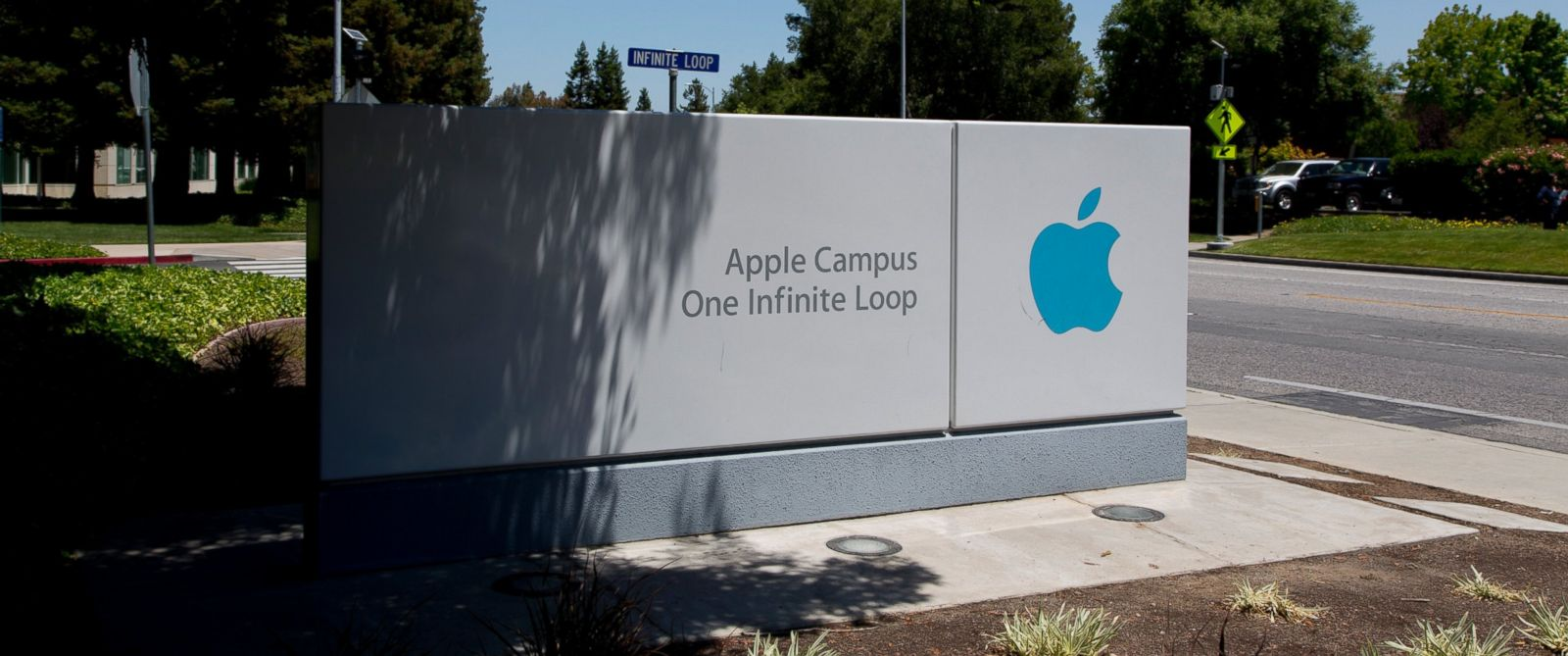 PHOTO: The Apple Campus sign is seen here in Cupertino, California.