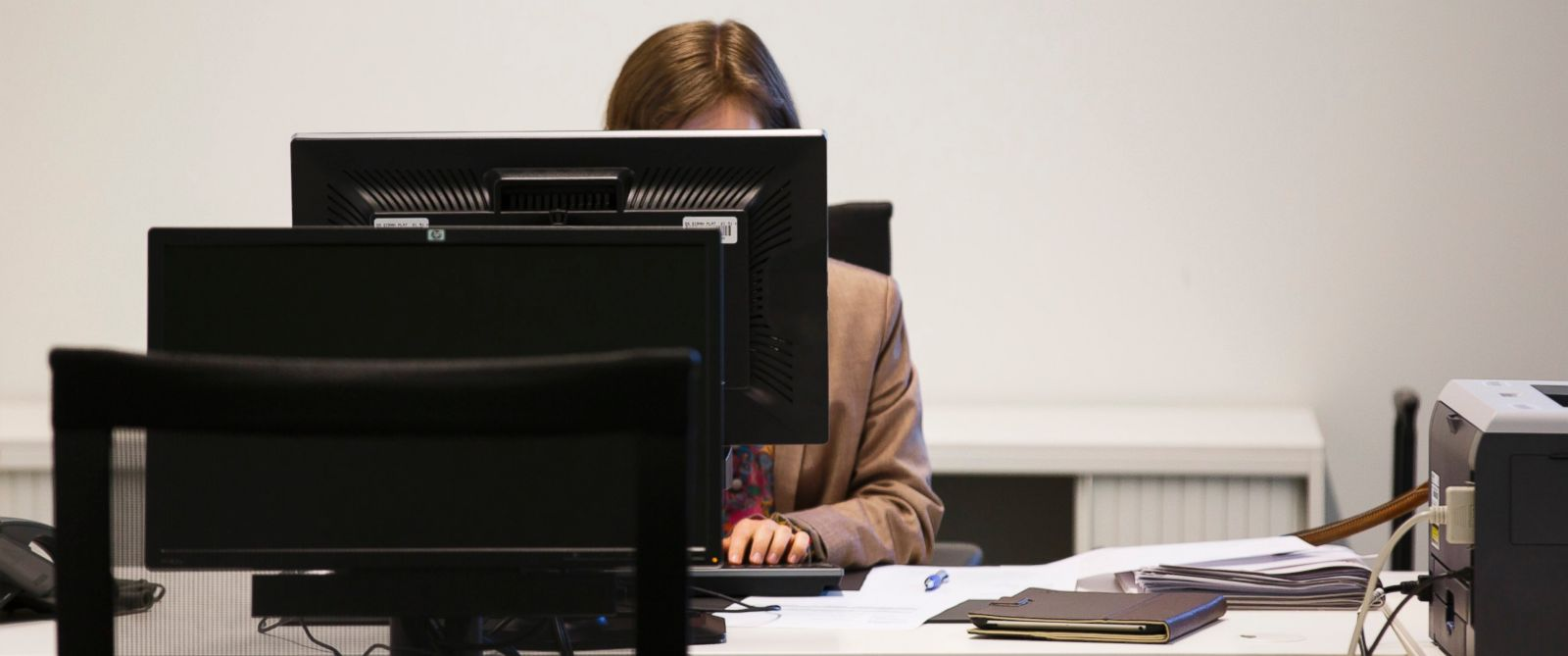 PHOTO: A woman working on a computer in an office on June 23, 2014, in Luxembourg City, Luxembourg.