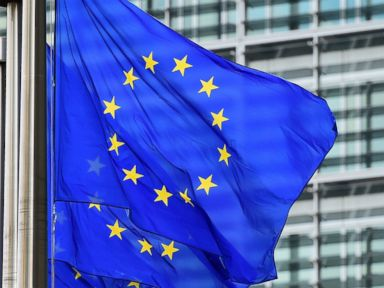 PHOTO: European flags fly outside the European Commission building, in Brussels, on May 8, 2015.
