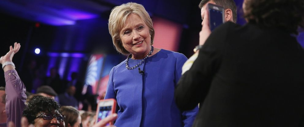 PHOTO: Democratic presidential candidate Hillary Clinton greets guests after participating in a Town Hall meeting hosted by CNN and moderated by Chris Cuomo at the University of South Carolina on Feb. 23, 2016 in Columbia, S.C.