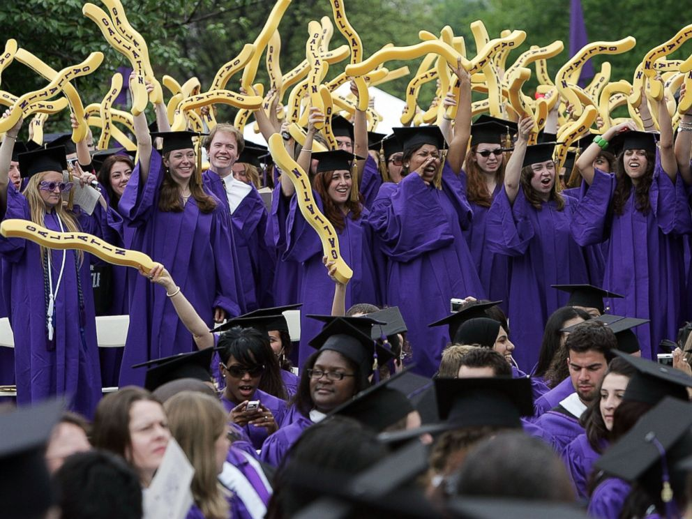 PHOTO: New York University graduates celebrate during commencement ceremonies in Washington Square Park on May 10, 2007 in New York City.