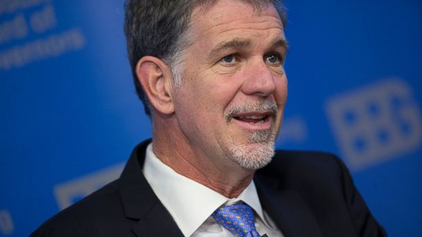PHOTO: Reed Hastings, chairman, president and chief executive officer of Netflix Inc., speaks in Washington, Dec. 18, 2013.