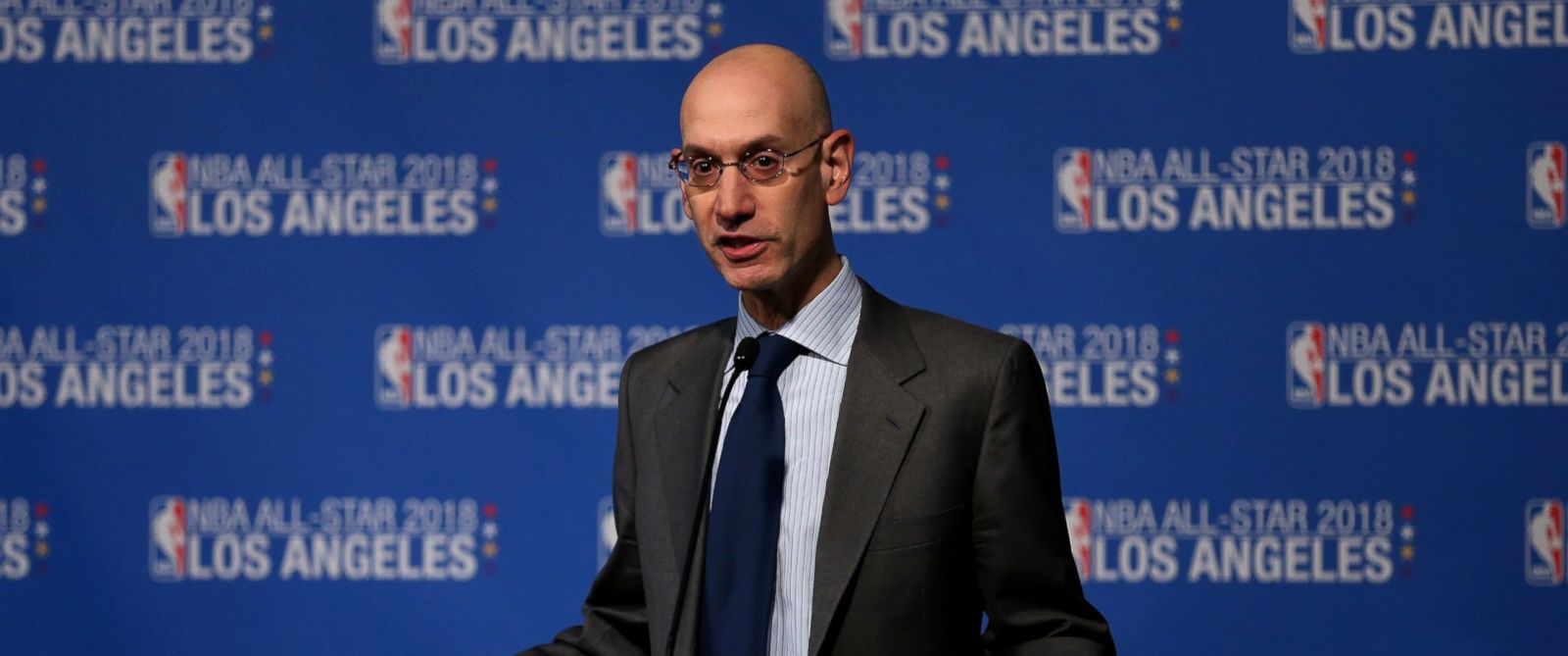 PHOTO: Adam Silver, commissioner of the National Basketball Association, announces that the 2018 NBA All-Star game will be held in Los Angeles at Staples Center during a press conference at Staples Center, March 22, 2016, in Los Angeles.