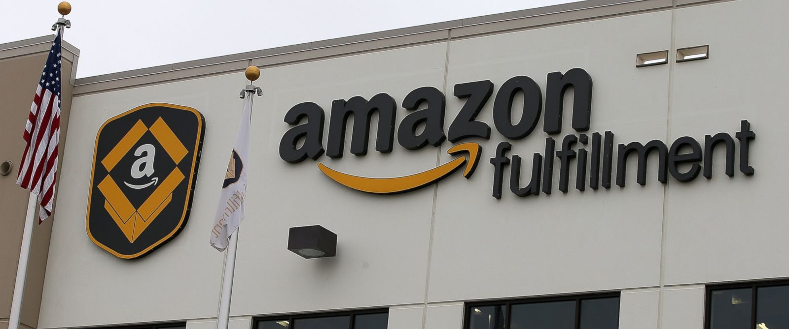 PHOTO: A sign is posted on the exterior of an Amazon fulfillment center in Tracy, Calif., Jan. 20, 2015.