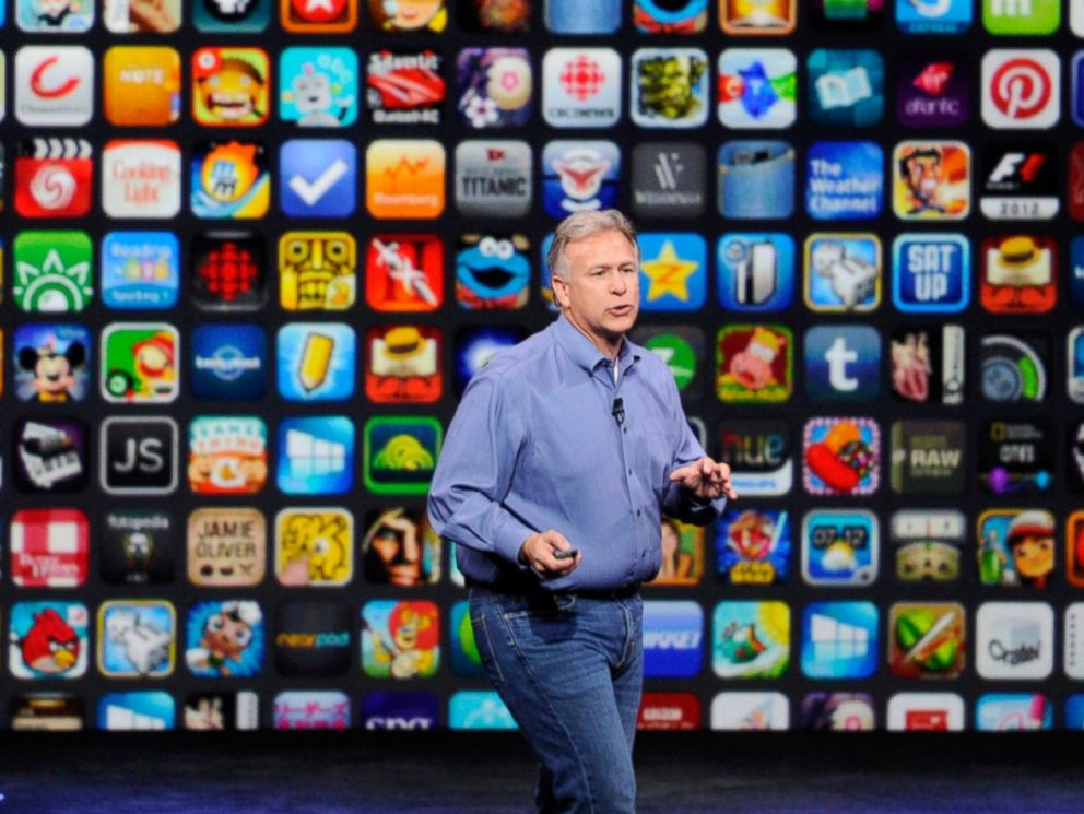 PHOTO: Philip Phil Schiller, senior vice president of worldwide marketing at Apple Inc., speaks about the iPhone 6 and iPhone 6 Plus during a product announcement at Flint Center in Cupertino, Calif., Sept. 9, 2014.