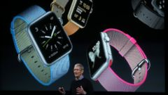 PHOTO: Apple CEO Tim Cook speaks about the Apple Watch during an Apple special event, March 21, 2016, in Cupertino, California.
