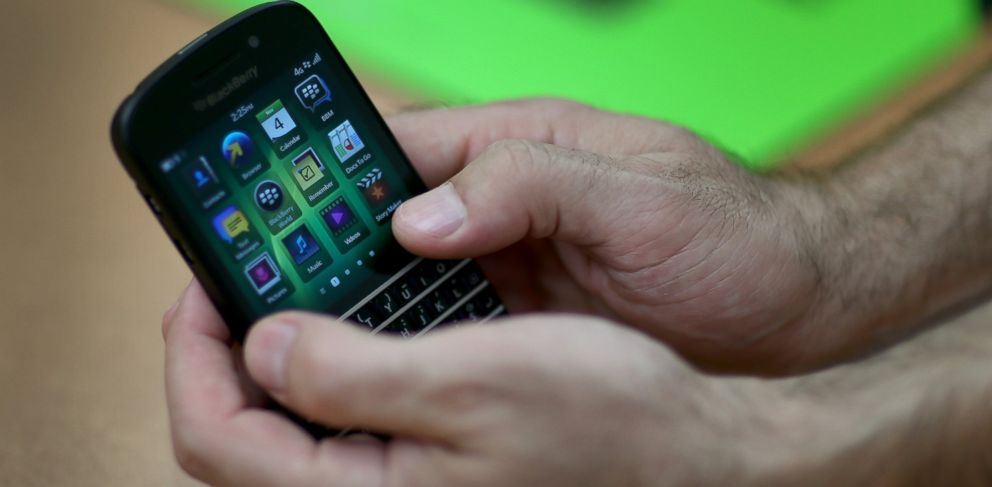 PHOTO: In this file photo, a Blackberry cell phone is pictured on Nov. 4, 2013 in Miami, Fla.