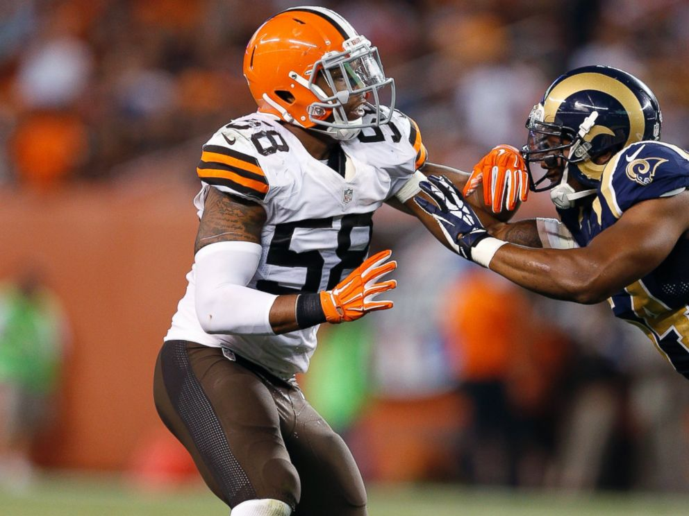 PHOTO: Christian Kirksey, #58 of the Cleveland Browns, in action during an NFL preseason game against the St. Louis Rams at FirstEnergy Stadium, Aug. 23, 2014, in Cleveland.
