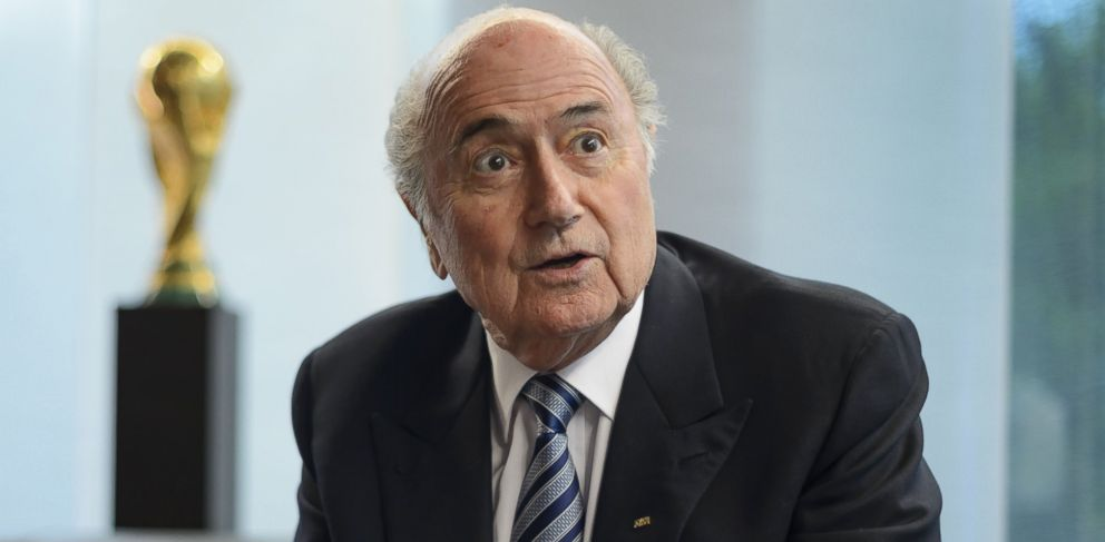 PHOTO: President of International governing body of association football FIFA Sepp Blatter gestures during an interview on May 15, 2015 at the of organizations headquarters in Zurich.