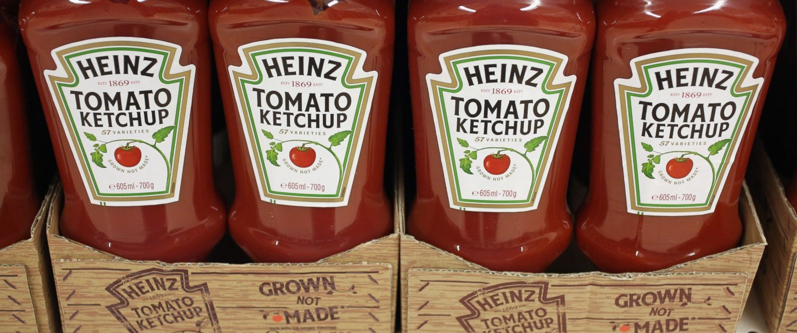 PHOTO: Bottles of H.J. Heinz Co. tomato ketchup are pictured in London, Feb. 15, 2013.