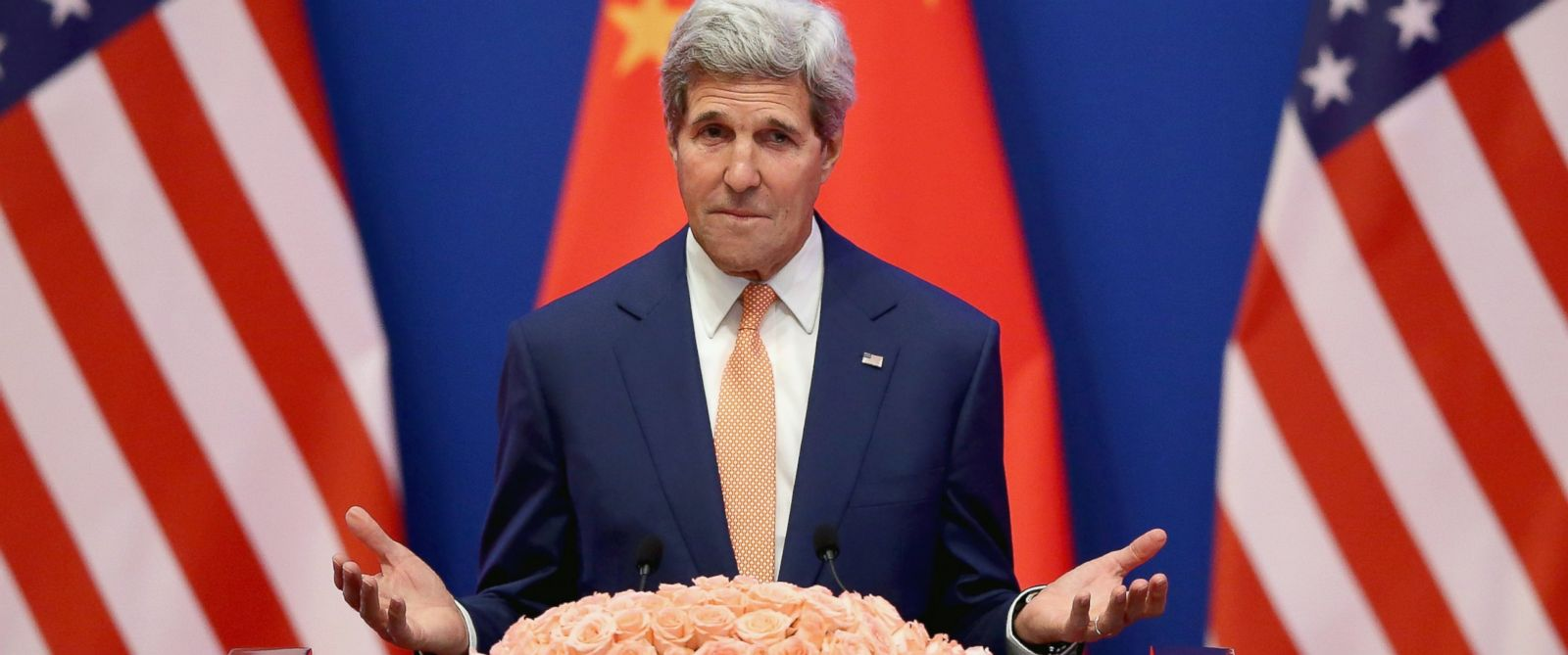 PHOTO: U.S. Secretary of State John Kerry gives a speech at Diaoyutai State Guest House, July 9, 2014, in Beijing.