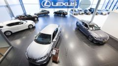 PHOTO: A general view of a Lexus car showroom on January 3, 2015 in The Hague, The Netherlands.