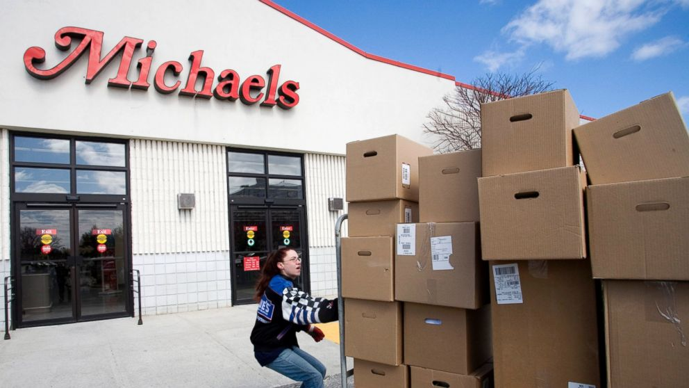PHOTO: A delivery of boxes is moved into a Michaels store by an employee, March 20, 2006.