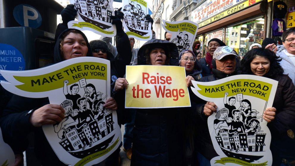 PHOTO: Fast-food workers calling for better wages demonstrate outside a McDonalds in New York