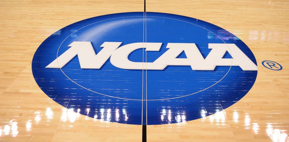 PHOTO: The NCAA logo during the NCAA tournament Elite Eight matchup between the Tennessee Lady Volunteers and the Louisville Cardinals at the Chesapeake Energy Arena in Oklahoma City, OK, April 2, 2013.