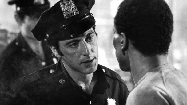 "PHOTO: Al Pacino and Damien Leake on set of the Paramount Pictures movie ""Serpico,"" 1973."
