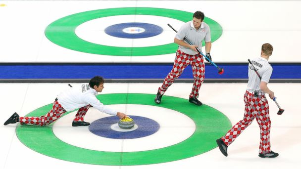 Thomas Ulsrud of Norway slides a stone down the ice during the Curling Mens Gold medal game between Canada and Norway on day 16 of the Vancouver 2010 Winter Olympics at the Vancouver Olympic Centre, Feb. 27, 2010 in Vancouver, Canada.