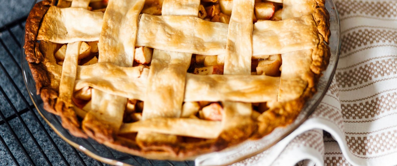 PHOTO: Apple pie with latticed pastry on kitchen counter