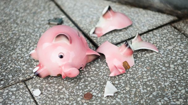 PHOTO: In this stock image, a broken piggy bank is pictured.