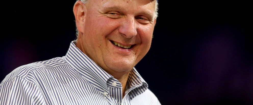 PHOTO: Steve Ballmer looks on after being introduced for the first time during Los Angeles Clippers Fan Festival at Staples Center, Aug. 18, 2014, in Los Angeles.