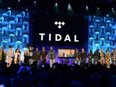PHOTO: Usher, Rihanna, Nicki Minaj, Madonna, Dead Mouse, Kanye West, Jay Z, Jason Aldean, Jack White, Daft Punk, Beyonce and Win Butler attend the Tidal launch event #TIDALforALL at Skylight at Moynihan Station, March 30, 2015, in New York.