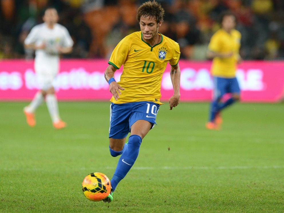 PHOTO: Neymar of Brazil kicks the ball during a match between South Africa and Brazil