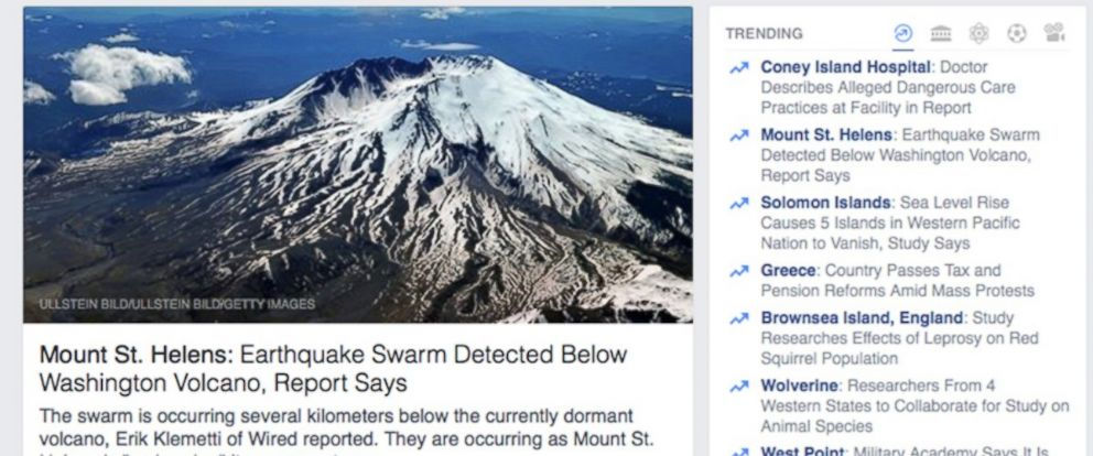 PHOTO: Shown here is a page from Facebook showing the trending topics at right.