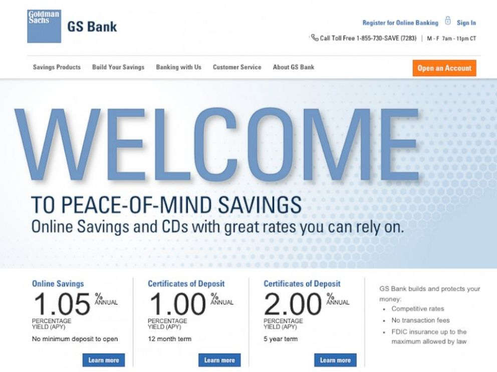 PHOTO: Goldman Sachs offers savings accounts to the public.