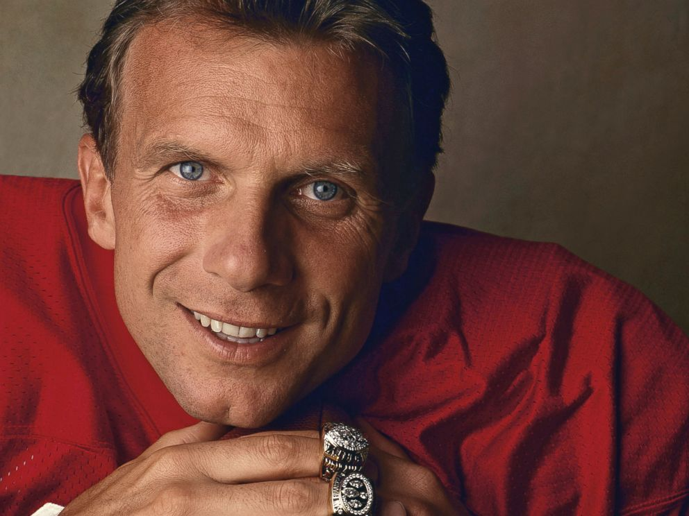 PHOTO: San Francisco 49ers Hall of Fame quarterback Joe Montana poses with his four Super Bowl rings for his ProLine Profile trading card during a photo shoot in Santa Clara, Calif., on April 21, 1992.