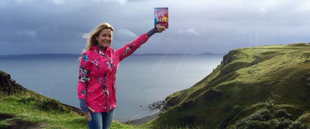 """PHOTO: Amanda Taylor seen with Elizabeth Gilberts new book """"Big Magic"""" in this undated photo."""