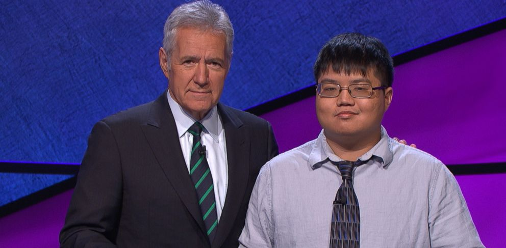 PHOTO: Host of Jeopardy! Alex Trebek and contestant Arthur Chu are shown.
