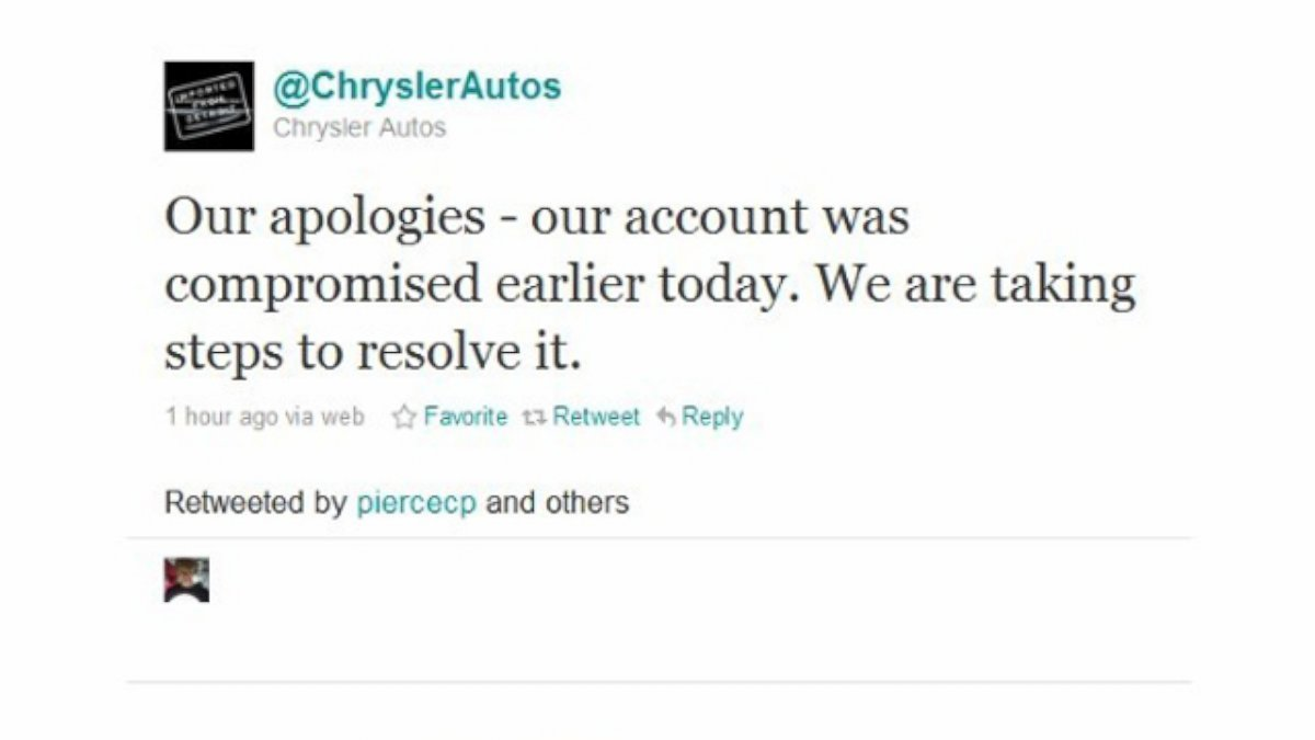 PHOTO: Chrysler apologizes to their twitter followers after their account was hacked.