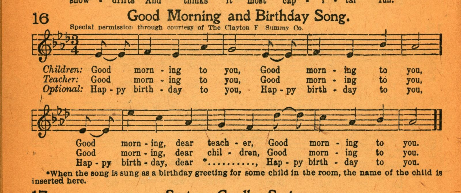 "PHOTO: The plaintiffs lawyers claim this songbook shows that the publisher authorized the publication of the lyrics to ""Happy Birthday to You"" in 1921 or 1922"