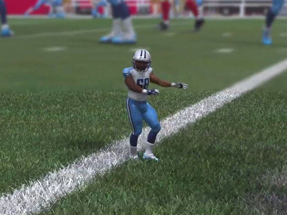 PHOTO: A glitch in the Madden NFL 15 video game shows a tiny version of Cleveland Browns player Christian Kirksey